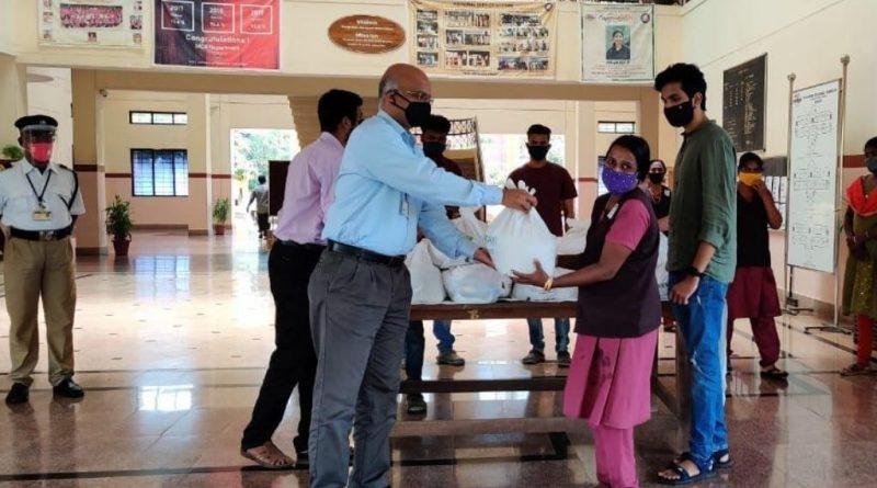 ME Dept students celebrate Onam by distributing food kits