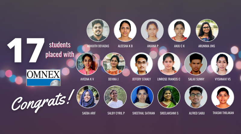 Vidya's 17 B Tech students placed with Omnex